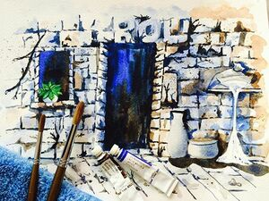 Project completed-- Abandoned White City. Using the basic two watercolours to complete the whole drawing.  ALPHA Watercolour  Burnt Umber 164  Ultramarine Deep 152  Nameless Brush #watercolours #watercolors #alphawatercolors #whitecity #abandonedcity